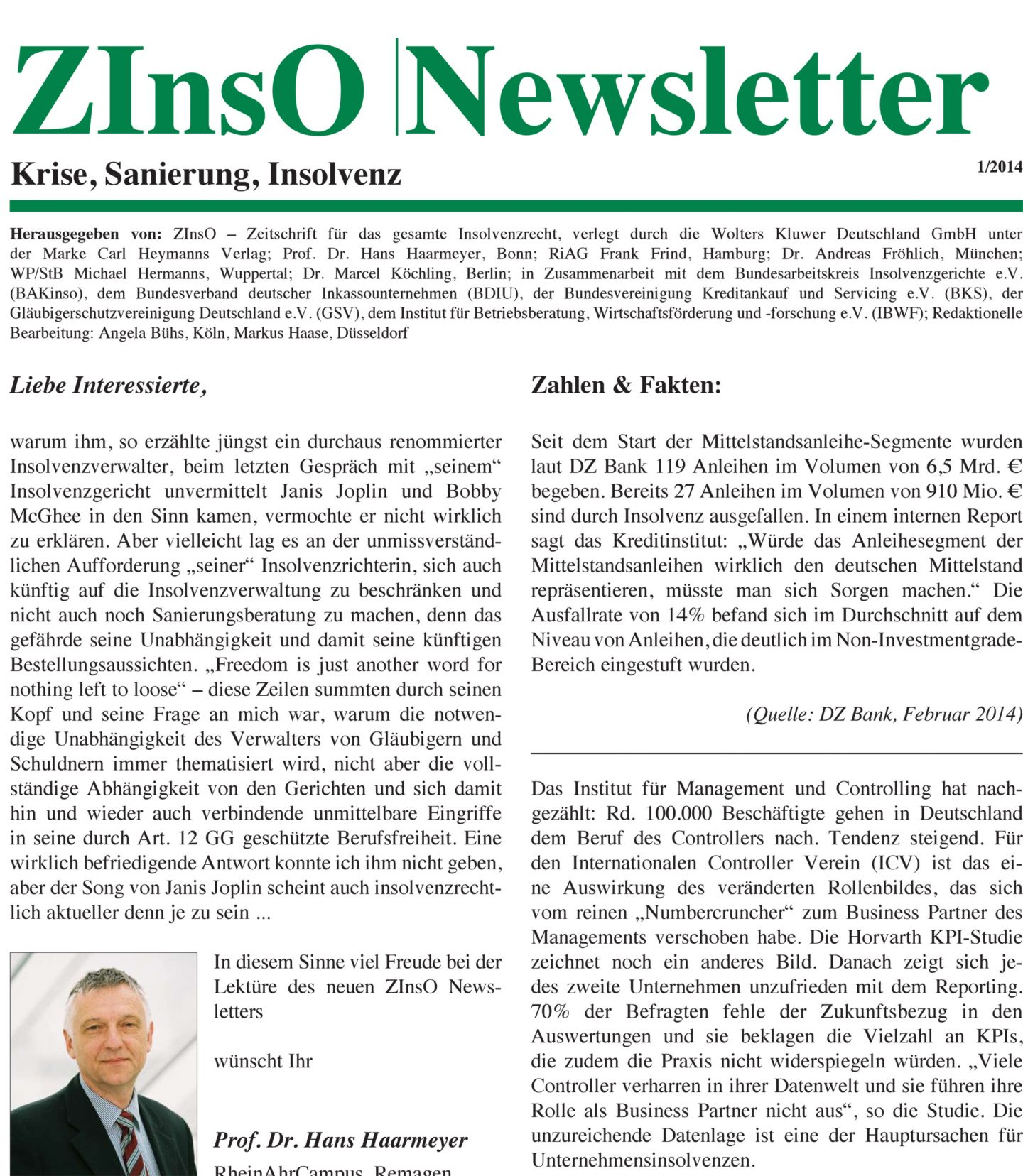 ZInsO Newsletter Cover